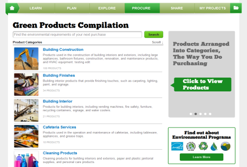 Find sustainable products from the Green Procurement Compilation (GPC)