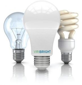 Image of 3 types of light bulbs: incandescent, fluorescent, and LED