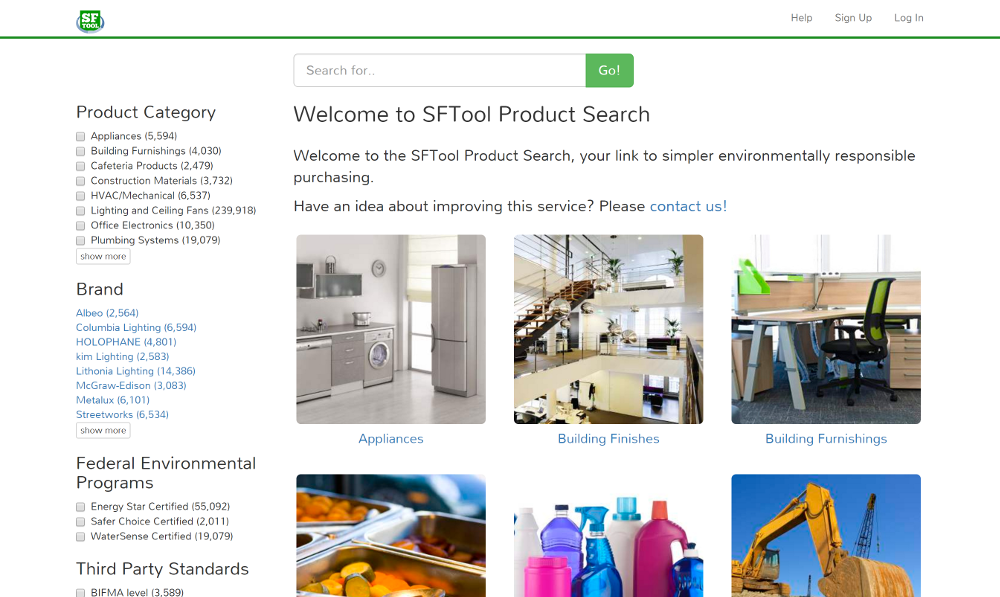 sftool product search gsa sustainable facilites tool