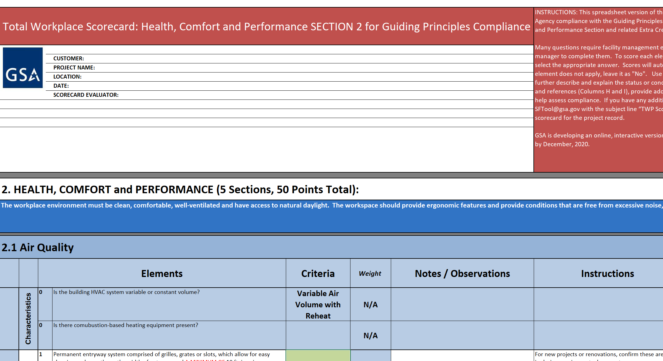Screenshot of the Total Workplace Scorecard Section 2