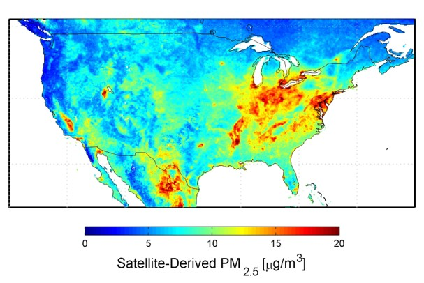 Decorative map of PM 2.5 readings across the United States